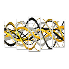 """""""HelixExpression"""" Abstract Canvas Art, 60""""x32"""", 5-Panel"""