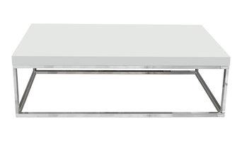 """Prairie 47 X 30"""" Coffee Table, High Gloss White Top / Chrome Legs"""