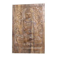 Consigned Vintage Hand Carved Wooden Wall Art Sitting Buddha Wall Panel