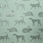 """PaperBoy Interiors Ltd - PaperBoy Interiors """"Animal Magic"""" Wallpaper, Green - PaperBoy was founded by a UK mother who wanted to create children's wallpaper that blends seamlessly with grown-up style. All of their Irish spun linens are designed and screen printed in England. This modern and minimalist wallpaper is suitable for childrens' bedrooms and nurseries. This non-woven wallpaper features house pets printed in dark ink on a earthy green background. An option ideal for both boys and girls."""