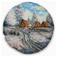 "Snow Village Landscape Printed Throw Pillow, 20"" Round"