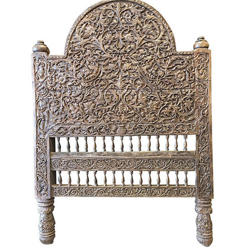 India Bedroom Furniture Headboard Floral Carved Wood Arch Frame $3,500 -  Headboards