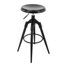 Backless Round Adjustable 4-Legged Metal Barstool Matte Black