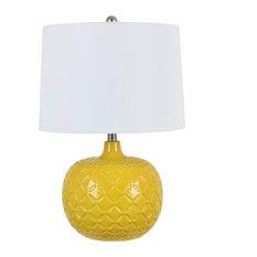 "Lorna 24"" Ceramic Lamp, Yellow"