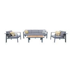 Armen Living Nofi 4-Piece Patio Sofa Set, Taupe and Gray