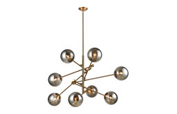 Accelerated Returns Chandelier, Aged Brass Withplated Smoke Glass