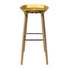 Diamond Wooden Bar Stool, Gold-Yellow