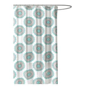 Ornate Mandala Circle Design NWOP Turquoise Green Grey Fabric Shower Curtain
