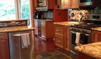 Kraftmaid cabinets with light and dark cherry wood. Granite countertops