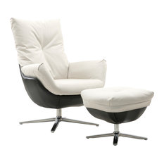 Rio Contemporary Rocker Chair With Ottoman White Fabric/Black PVC