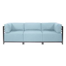 HOWARD ELLIOTT AXIS SEASCAPE Sectional Sofa Breeze Blue Titanium 3-Pc