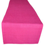 NEEV - Linen Table Runner, Raspberry - Brighten the table with these soft table linens in a beautiful Raspberry color. Handwoven on a traditional wooden loom by an artisan in India. 100% eco-friendly linen. Hand dyed with plant based dyes.