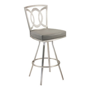 "Drake 26"" Contemporary Swivel Bar Stool, Gray/Stainless Steel"