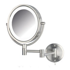 Jerdon HL88CL 8.5-Inch Two-Sided Swivel LED  Lighted Wall Mount Mirror w/ 8x Mag