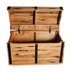 treasure chest knotty hickory toy box nautical three strap round top hardwood