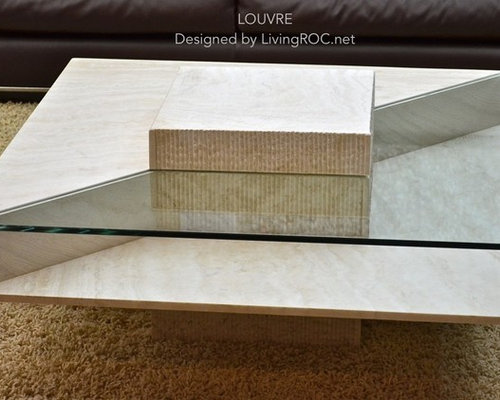 Table basse en marbre Ivoire et verre trempé haut de gamme ...