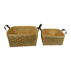 Woven Patches 2-Piece Wicker/Rattan Basket Set, Beige