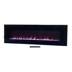 """Wall-Mounted Electric Fireplace With Remote, LED Fire and Ice Flame, 54"""""""