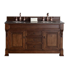 "60"" Double Vanity Cabinet, Country Oak, Santa Cecilia Stone Top"