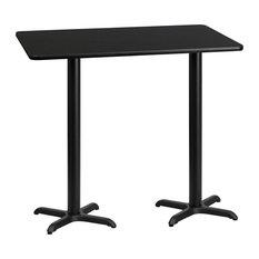"Dyersburg 30""x60"" Rectangular Black Laminate Table Top With 42"" X-Base"