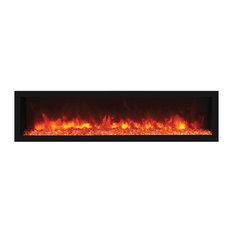 "Deep Indoor Electric Fireplace with Black Steel Surround , Built-In, 65"""