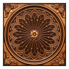 """24""""x24"""" PVC Faux Tin Ceiling Tiles, Glue-up or Drop-in, Set of 6, Antique Gold"""