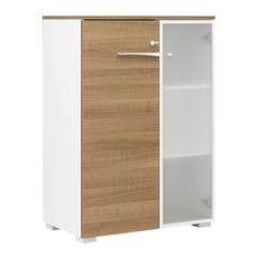 Xenon Lockable Wood Storage Cabinet With Frosted Glass Door, Cherry Wood Finish