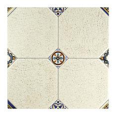 "13.13""x13.13"" Huerta Jet Ceramic Floor/Wall Tiles, Set of 9, Blanco"