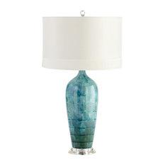Cyan Elysia Table Lamp, Blue Glaze