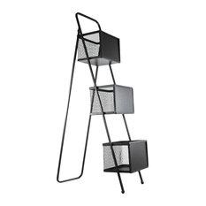 Decorative 3 Wire Baskets Storage Floor Rack With Chalkboard Fronts