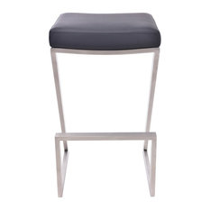 """Atlantis Backless Counter Stool, Brushed Stainless Steel, 26"""""""