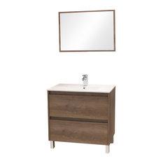 "AQUA PLUS - Dahlia Bathroom Vanity and Mirror 2-Piece Set, 32"" - Bathroom Vanity Units & Sink Cabinets"