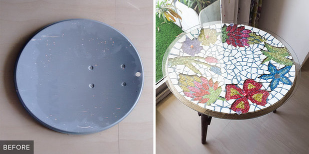 Project Rehab: From Satellite to Mosaic Topped Breakfast Table