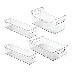 4-Piece iDesign Fridge Binz and Condiment Caddy Set, Clear