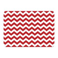 Premium Comfort Chevron Kitchen Mat, Red