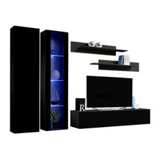 Fly A 30TV Wall Mounted Floating Modern Entertainment Center Black A4