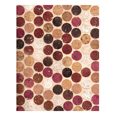 "12""x12"" Habitus Cork Mosaic Penny Tiles, Set of 24, Wine"