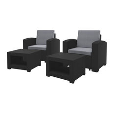 4-Piece All-Weather Black Chair and Ottoman Patio Set Light Gray Cushions