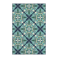 "Madelina Medallion Blue and Green Indoor or Outdoor Area Rug, 7'10""x10'10"""