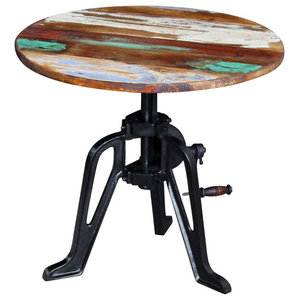 Industrial Round Coffee Table With Metal Base and Reclaimed Wooden Top