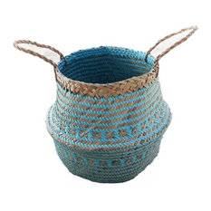 """Seagrass Tote Belly Basket for Storage, Laundry, Picnic, Plant Pot, 13""""x17"""""""