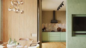 Интерьер кухни-гостиной в ЖК Александровский двор