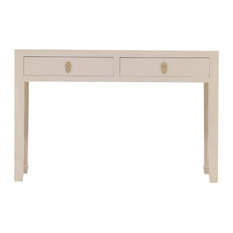 Oriental Oyster Console Table With Drawers, Grey