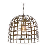Industrial Pendant Lamp 60cm Weathered Bronze - Fence