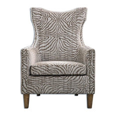 Uttermost - Beige Jungle Print Zebra Armchair - Armchairs and Accent Chairs