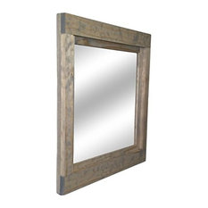 "Renewed Decor and Storage - Weathered Oak Farmhouse Style Vanity Mirror, 22""x24"" - Bathroom Mirrors"