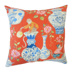 "Gaiwan Chinoiserie Throw Throw Pillow,  Chili, 20""x20"""