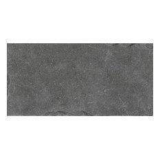 "Dark Limestone Field Tiles, Natural-Rectified, 12""x24"", Set of 6"