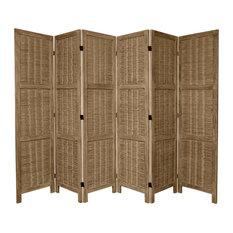 5 1/2' Tall Bamboo Matchstick Woven Room Divider, Burnt Gray, 6 Panel