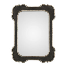 Vintage Style Black Silver Curved Edge Wall Mirror, Vanity Scalloped Victorian